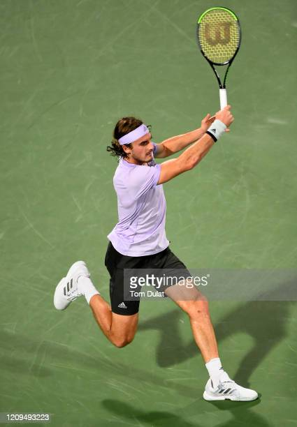 Stefanos Tsitsipas of Greece plays a forehand during his men's final match against Novak Djokovic of Serbia on Day 13 of the Dubai Duty Free Tennis...