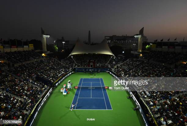 Stefanos Tsitsipas of Greece plays a forehand during his men's semi final match against Daniel Evans of Great Britain on Day 12 of the Dubai Duty...