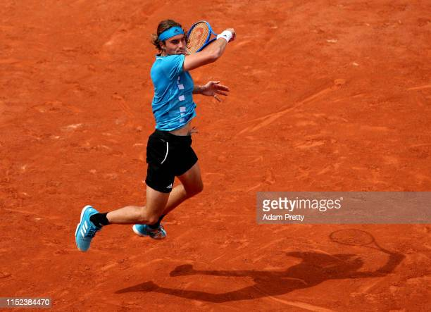 Stefanos Tsitsipas of Greece plays a forehand during his mens singles second round match against Hugo Dellien of Bolivia during Day four of the 2019...