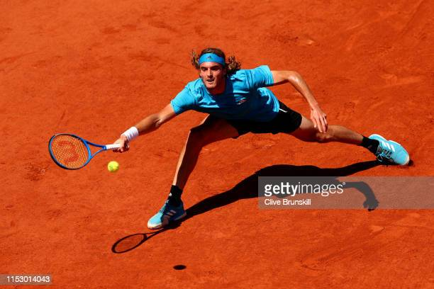Stefanos Tsitsipas of Greece plays a forehand during his mens singles third round match against Filip Krajinovic of Serbia during Day seven of the...
