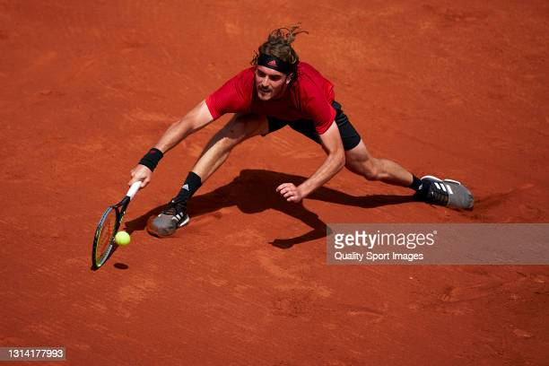 Stefanos Tsitsipas of Greece plays a forehand during his Men's Singles semifinal match against Jannik Sinner of Italy on day six of the Barcelona...