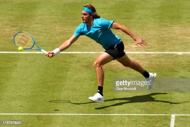 Stefanos Tsitsipas of Greece plays a forehand during his Quarter-Final Singles Match against Felix Auger-Aliassime of Canada during day Five of the...