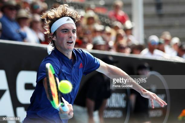 Stefanos Tsitsipas of Greece plays a forehand in his first round match against Lukas Lacko of Slovakia during day two of the ASB Men's Classic at ASB...