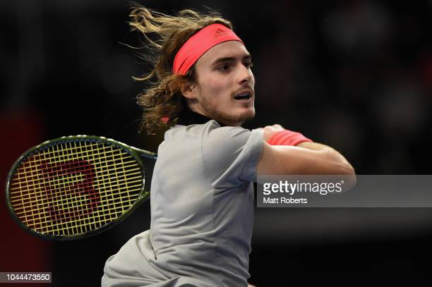 Stefanos Tsitsipas of Greece plays a forehand in his match against Daniel Taro of Japan on day two of the Rakuten Open at Musashino Forest Sports...