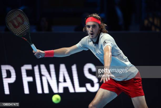 Stefanos Tsitsipas of Greece plays a forehand in his match against Alex de Minaur of Australia in the final during Day Five of the Next Gen ATP...