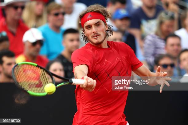 Stefanos Tsitsipas of Greece plays a forehand in his match against Juan Martin Del Potro of Argentina during day four of the Internazionali BNL...