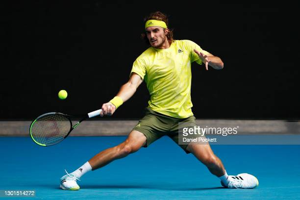 Stefanos Tsitsipas of Greece plays a forehand in his Men's Singles second round match against Thanasi Kokkinakis of Australia during day four of the...