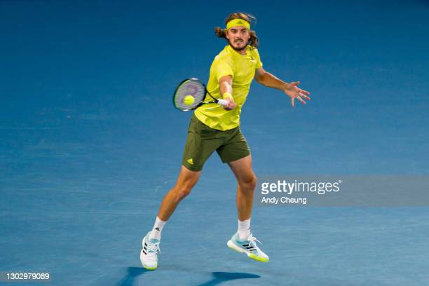 Stefanos Tsitsipas of Greece plays a forehand in his Men's Singles Semifinals match against Daniil Medvedev of Russia during day 12 of the 2021...