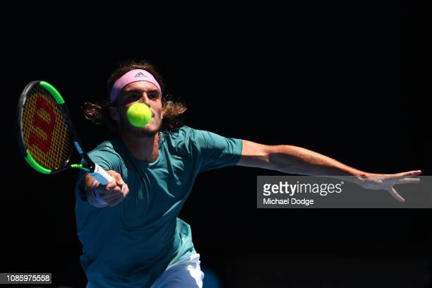 Stefanos Tsitsipas of Greece plays a forehand in his quarter final match against Roberto Bautista Agut of Spain during day nine of the 2019...