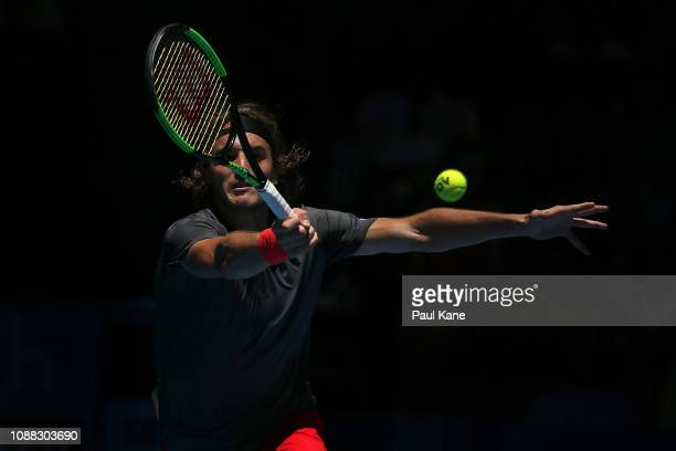 Stefanos Tsitsipas of Greece plays a forehand to Frances Tiafoe of the United States during day three of the 2019 Hopman Cup at RAC Arena on December...