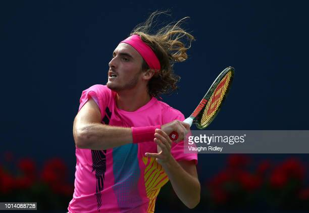 Stefanos Tsitsipas of Greece plays a shot against Novak Djokovic of Serbia during a 3rd round match on Day 4 of the Rogers Cup at Aviva Centre on...