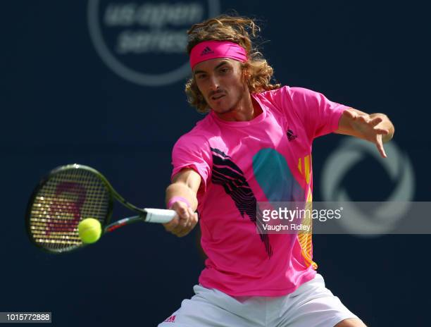 Stefanos Tsitsipas of Greece plays a shot against Rafael Nadal of Spain during the final match on Day 7 of the Rogers Cup at Aviva Centre on August...