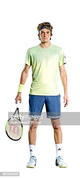 Stefanos Tsitsipas of Greece poses for portraits during the Australian Open at Melbourne Park on January 12 2018 in Melbourne Australia