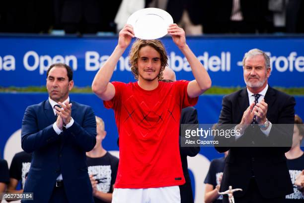 Stefanos Tsitsipas of Greece poses with his trophy after his defeat against Rafael Nadal of Spain in their final match during day seven of the...