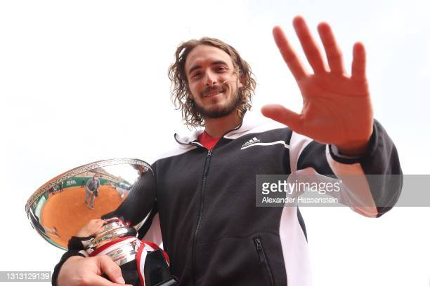 Stefanos Tsitsipas of Greece poses with the winners trophy after the Men's Final match on day eight of the Rolex Monte-Carlo Masters at Monte-Carlo...