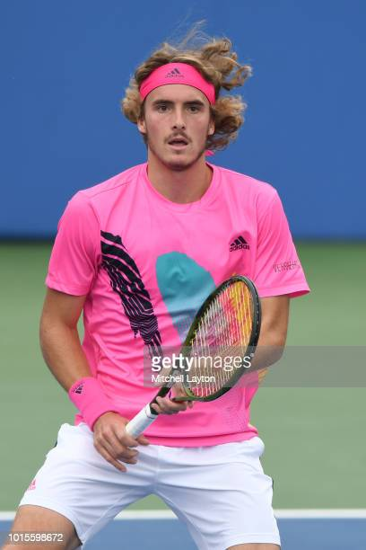 Stefanos Tsitsipas of Greece prepares for a shot from David Goffin of Belguim during Day Seven of the Citi Open at the Rock Creek Tennis Center on...
