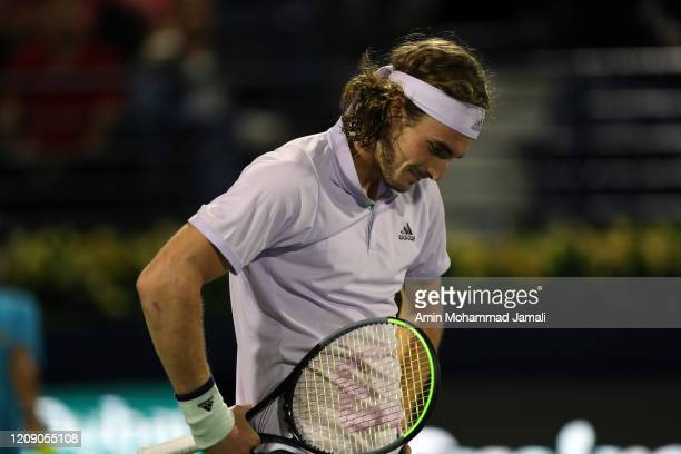 Stefanos Tsitsipas of Greece react against anLennard Struff of Germany during his men's singles match on day eleven of the Dubai Duty Free Tennis at...