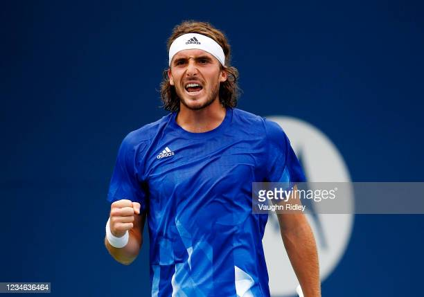 Stefanos Tsitsipas of Greece reacts after winning a point against Karen Khachanov of Russia during the third round on Day Four of the National Bank...