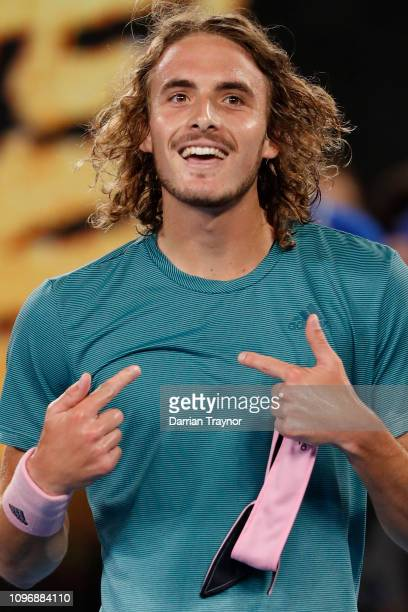 Stefanos Tsitsipas of Greece reacts after winning his fourth round match against Roger Federer of Switzerland during day seven of the 2019 Australian...