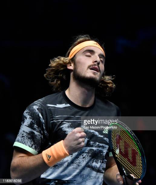 Stefanos Tsitsipas of Greece reacts during his match against Dominic Thiem during their Final match on Day Eight of the Nitto ATP Finals at The O2...