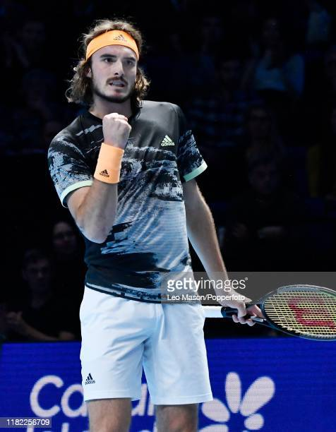Stefanos Tsitsipas of Greece reacts during his match against Alexander Zverev on Day Four of the Nitto ATP Finals at The O2 Arena on November 13 2019...