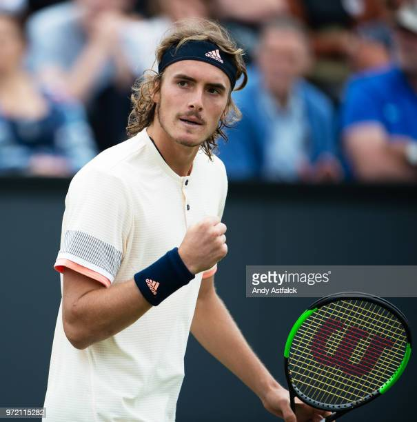 Stefanos Tsitsipas of Greece reacts during the Men's singles first round match against Bernard Tomic of Australia on day two on Day Two of the Libema...