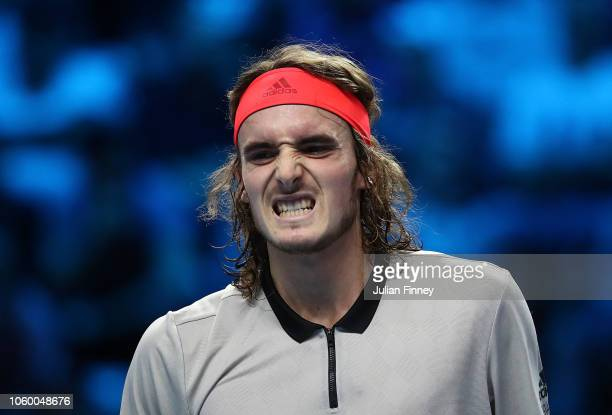 Stefanos Tsitsipas of Greece reacts in his match against Alex de Minaur of Australia in the final during Day Five of the Next Gen ATP Finals at Fiera...