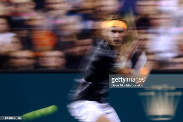 Stefanos Tsitsipas of Greece returns a backhand in his match against Alex de Minaur of Australia on day 4 of the Rolex Paris Masters, part of the ATP...