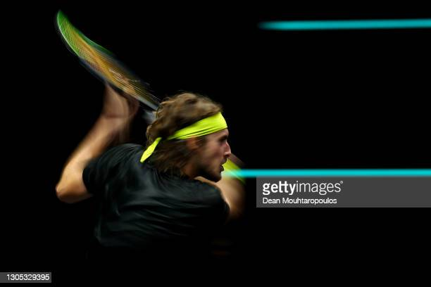 Stefanos Tsitsipas of Greece returns a backhand in his match against Hubert Hurkacz of Poland during Day 4 of the 48th ABN AMRO World Tennis...
