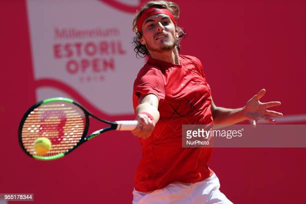 Stefanos Tsitsipas of Greece returns a ball to Joao Sousa of Portugal during the Millennium Estoril Open ATP 250 tennis tournament semifinal at the...