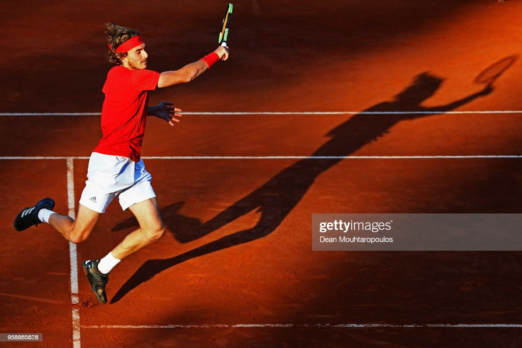 Stefanos Tsitsipas of Greece returns a forehand in his match to Borna Coric of Croatia during day 3 of the Internazionali BNL d'Italia 2018 tennis at Foro Italico on May 15, 2018 in Rome, Italy.