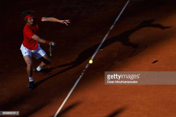 Stefanos Tsitsipas of Greece returns a forehand in his match to Borna Coric of Croatia during day 3 of the Internazionali BNL d'Italia 2018 tennis at...