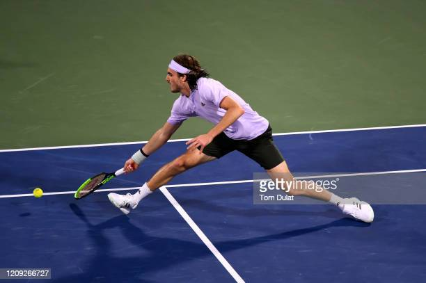 Stefanos Tsitsipas of Greece returns a shot during his men's semi final match against Daniel Evans of Great Britain on Day 12 of the Dubai Duty Free...