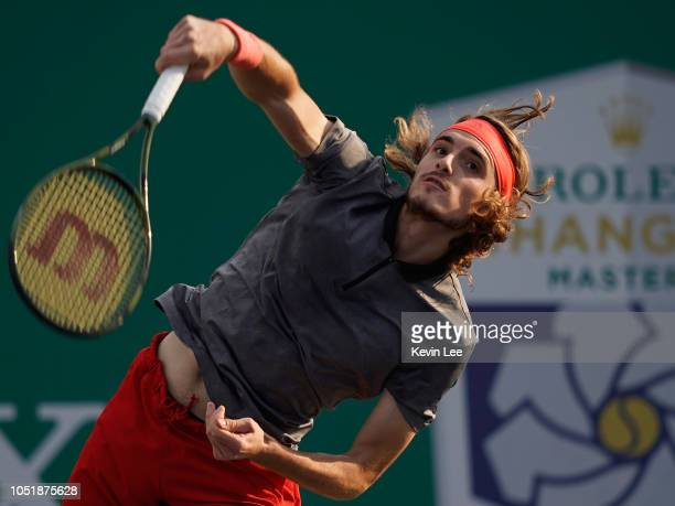 Stefanos Tsitsipas of Greece returns a shot to Kevin Anderson of Republic of South Africa during the Third Round Men's Singles match in the 2018...