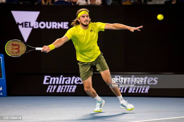Stefanos Tsitsipas of Greece returns the ball during the semifinals of the 2021 Australian Open on February 19 2021, at Melbourne Park in Melbourne,...