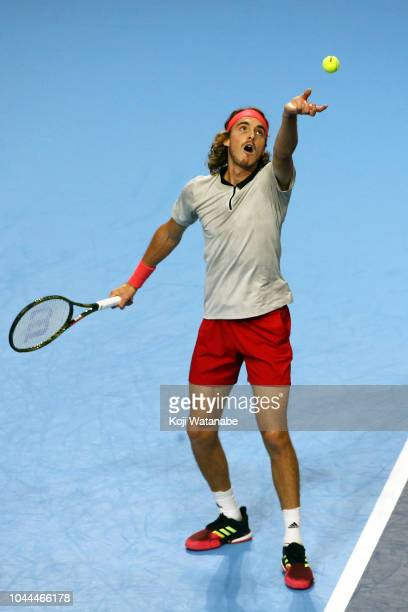 Stefanos Tsitsipas of Greece saves on in the Singles first round against Taro Daniel of Japan on day two of the Rakuten Open at Musashino Forest...
