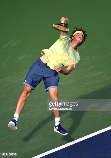 Stefanos Tsitsipas of Greece serves against Radu Albot of Moldova during Day 4 of the BNP Paribas Open on March 8 2018 in Indian Wells California