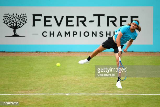 Stefanos Tsitsipas of Greece serves during his First Round Singles Match against Kyle Edmund of Great Britain during day Three of the FeverTree...