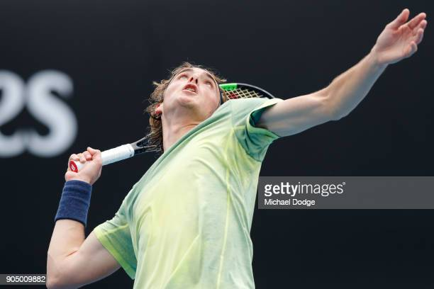Stefanos Tsitsipas of Greece serves in his first round match against Denis Shapovalov of Canada on day one of the 2018 Australian Open at Melbourne...