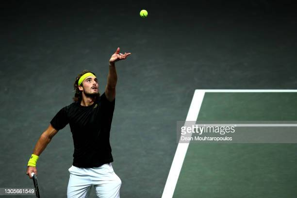Stefanos Tsitsipas of Greece serves in his match against Andrey Rublev of Russia during Day 6 of the 48th ABN AMRO World Tennis Tournament at Ahoy on...