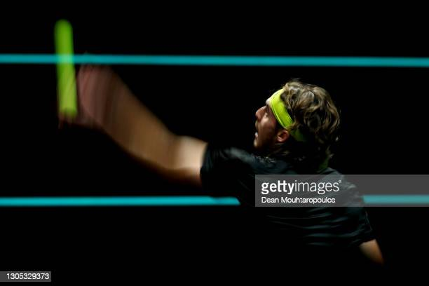 Stefanos Tsitsipas of Greece serves in his match against Hubert Hurkacz of Poland during Day 4 of the 48th ABN AMRO World Tennis Tournament at Ahoy...