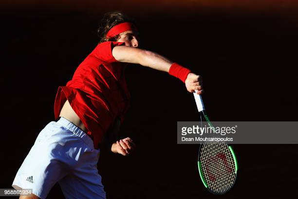 Stefanos Tsitsipas of Greece serves in his match to Borna Coric of Croatia during day 3 of the Internazionali BNL d'Italia 2018 tennis at Foro...