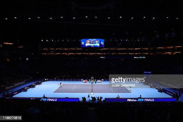 Stefanos Tsitsipas of Greece serves in his singles final match against Dominic Thiem of Austria of Greece during Day 8 of the Nitto ATP Finals at The...