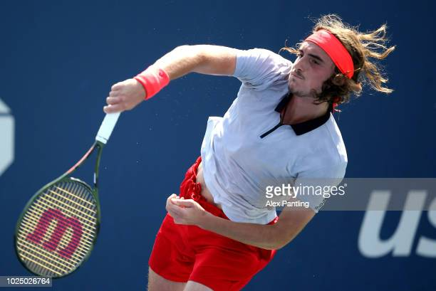 Stefanos Tsitsipas of Greece serves the ball during his men's singles second round match against Daniil Medvedev of Russia on Day Three of the 2018...