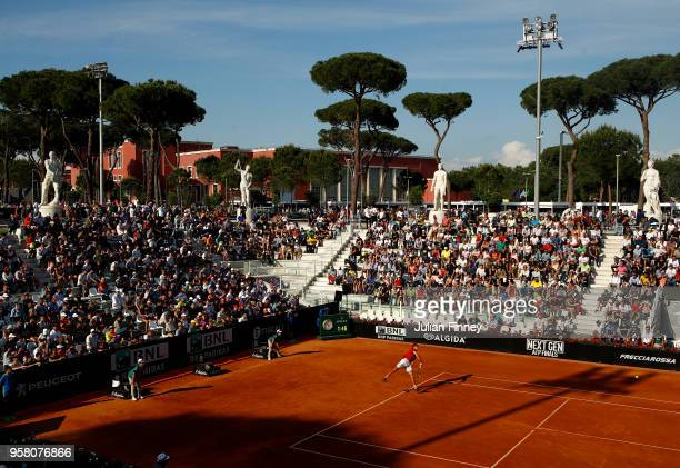Stefanos Tsitsipas of Greece serves to Dusan Lajovic of Serbia during day one of the Internazionali BNL d'Italia 2018 tennis at Foro Italico on May...