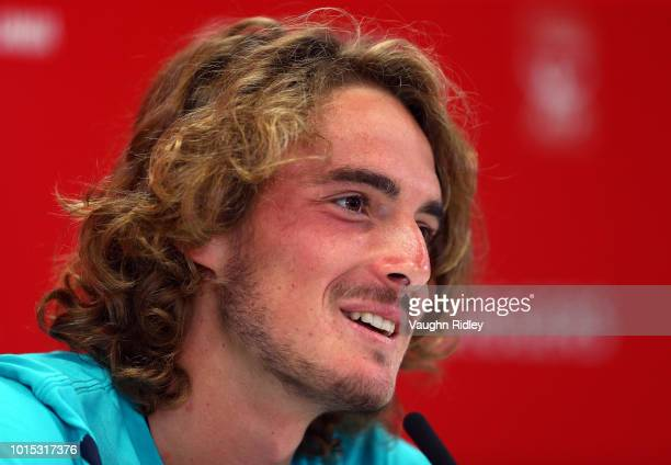 Stefanos Tsitsipas of Greece speaks to the media following his semi final victory over Kevin Anderson of South Africa on Day 6 of the Rogers Cup at...