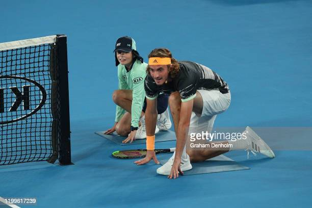 Stefanos Tsitsipas of Greece takes part in the Rally for Relief Bushfire Appeal event at Rod Laver Arena on January 15 2020 in Melbourne Australia