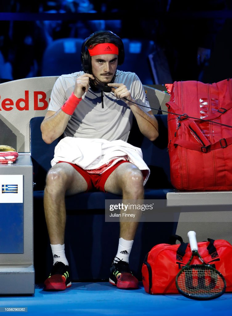 Stefanos Tsitsipas Of Greece Talks To His Coach In His Group Match News Photo Getty Images