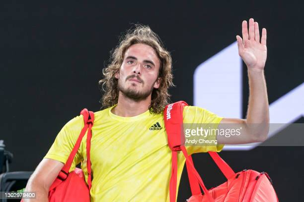 Stefanos Tsitsipas of Greece thanks the crowd as he walks off court following his Men's Singles Semifinals match against Daniil Medvedev of Russia...
