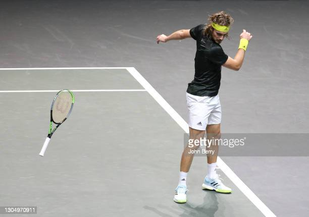 Stefanos Tsitsipas of Greece throws his racket in frustration during his first round match against Egor Gerasimov of Belarus on day 2 of the 48th ABN...